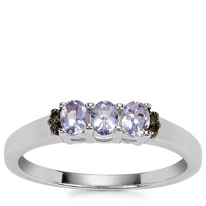 Tanzanite Ring with Green Diamond in Sterling Silver 0.53cts