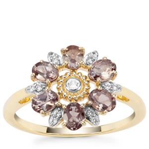 Miova Loko Garnet Ring with White Zircon in 9K Gold 1.32cts