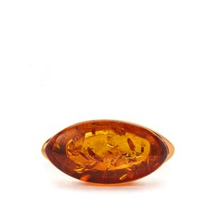 Baltic Cognac Amber Ring in Gold Tone Sterling Silver (20x10.50mm)