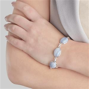 Blue Lace Agate Bracelet in Sterling Silver 53.95cts