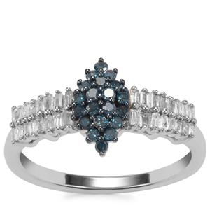 Blue Diamond Ring with White Diamond in Sterling Silver 0.51ct