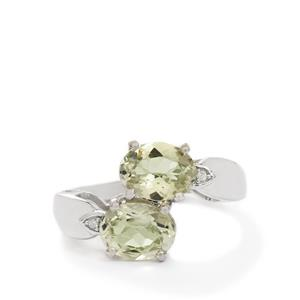 Kerala Sillimanite & Diamond Sterling Silver Ring ATGW 2.90cts