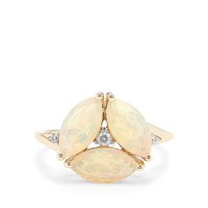 Ethiopian Opal Ring with White Zircon in 9K Gold 1.91cts