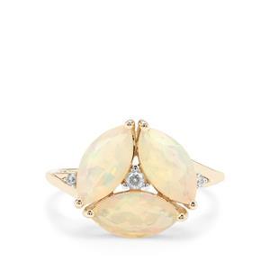 Ethiopian Opal & White Zircon 9K Gold Ring ATGW 1.91cts