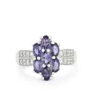 Bengal Iolite & White Topaz Sterling Silver Ring ATGW 1.62cts
