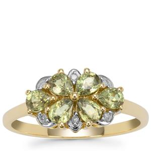 Green Dragon Demantoid Garnet Ring with White Diamond in 9K Gold 1.30cts