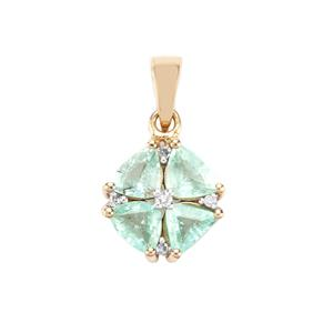 Paraiba Tourmaline Pendant with Diamond in 10K Gold 1.07cts
