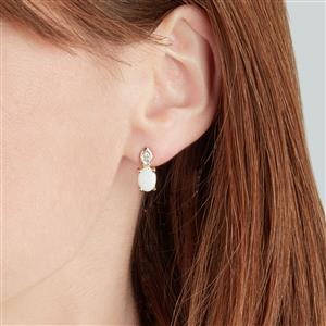 Coober Pedy Opal Earrings with Diamond in 10k Gold 1.50cts