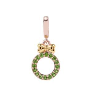 Chrome Diopside Wreath with Bow Kama Charms in Two Tone Gold Plated Sterling Silver 0.27cts