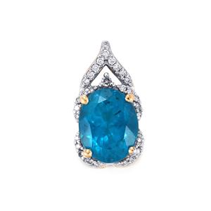 Madagascan Blue Apatite Pendant with Diamond in 14K Gold 1.86cts