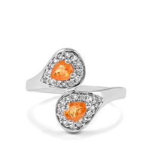 Mandarin Garnet & White Topaz Sterling Silver Ring ATGW 1.15cts