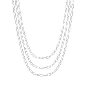 Sterling Silver Altro Diamond Cut Link Filo Graduate Necklace 9.10g