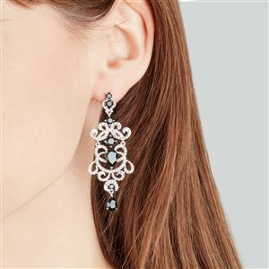 Black Spinel & White Zircon Sterling Silver Couture Earrings ATGW 9.08cts