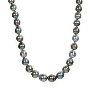 Tahitian Cultured Pearl Sterling Silver Graduated Necklace