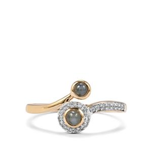 Cats Eye Alexandrite & White Zircon 9K Gold Ring ATGW 0.52cts