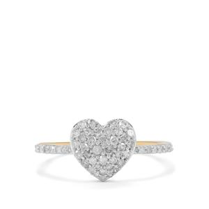 Natural  Diamond Ring in 9K Gold 0.52ct
