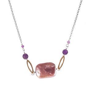 Baroque, Kaori Cultured Pearl & Ametista Amethyst Sterling Silver Necklace