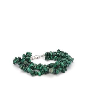 254.60ct Malachite Sterling Silver Bead Bracelet