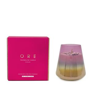 Gem Auras ORE October Birthstone Candle with Pink Peony Fragrance and Tourmaline ATGW 20cts