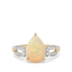 Ethiopian Opal & White Zircon 9K Gold Ring ATGW 1.61cts