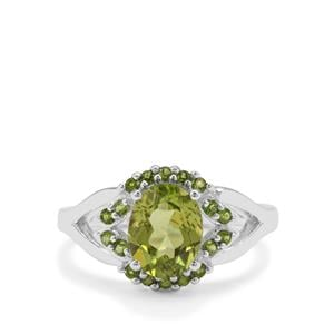 Red Dragon Peridot Ring with Chrome Diopside in Sterling Silver 2.28cts