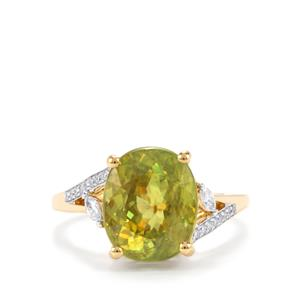 Ambilobe Sphene Ring with Diamond in 18K Gold 6.02cts