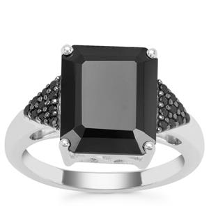 Black Spinel Ring in Sterling Silver 6.72cts