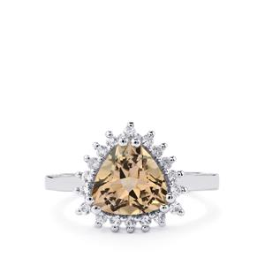 Natural Bolivian Champagne Quartz Ring with White Zircon in Sterling Silver 2.61cts
