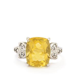 Golden Fluorite & White Topaz Sterling Silver Ring ATGW 6.47cts