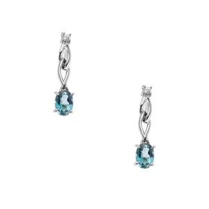 Ceylonese London Blue Topaz & White Zircon Sterling Silver Earrings ATGW 2.06cts
