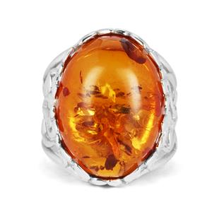 Baltic Cognac Amber Ring in Sterling Silver (19 x 15mm)
