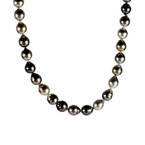 Tahitian Cultured Pearl Sterling Silver Necklace (10x8mm)