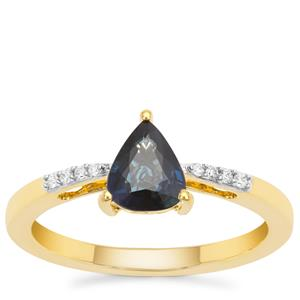 Nigerian Blue Sapphire Ring with Diamond in 18K Gold 1.06cts