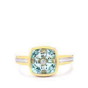Lehrer TorusRing Sky Blue Topaz Ring with Diamond in 10k Gold 3.78cts