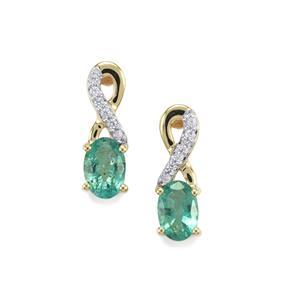 Zambian Emerald & White Zircon 10K Gold Earrings ATGW 0.95cts