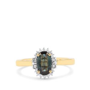 Nigerian Blue Sapphire & Diamond 18K Gold Tomas Rae Ring MTGW 1.23cts