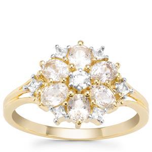 Ceylon White Sapphire Ring with White Zircon in 9K Gold 1.61cts