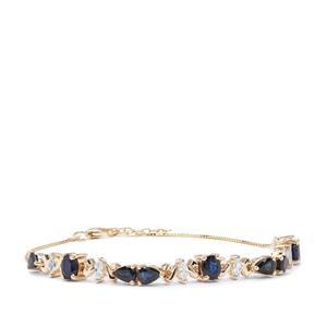 Australian Blue, Sri Lankan Sapphire Bracelet with White Zircon in 9K Gold 4.11cts