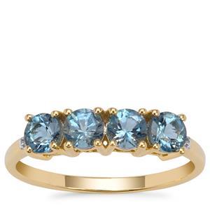Nigerian Aquamarine Ring with Diamond in 9K Gold 1cts