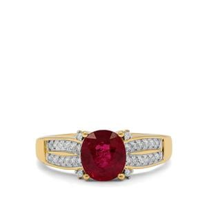 Rubellite Ring with Diamond in 18K Gold 1.54cts