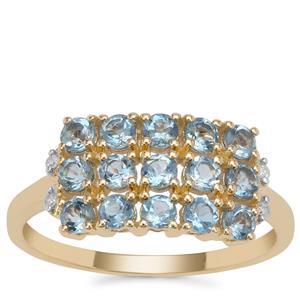 Nigerian Aquamarine Ring with Diamond in 9K Gold 0.97ct