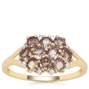 Miova Loko Garnet Ring with White Zircon in 9K Gold 1.32cts