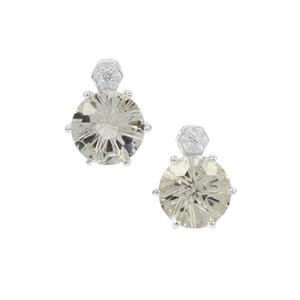 Honeycomb Cut Prasiolite Earrings with White Zircon in Sterling Silver 3.75cts