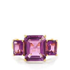 Zambian Amethyst Ring in Gold Plated Sterling Silver 7.14cts