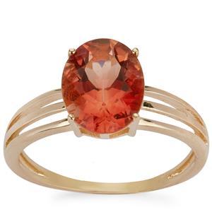 2.43ct Red Labradorite 9K Gold Ring