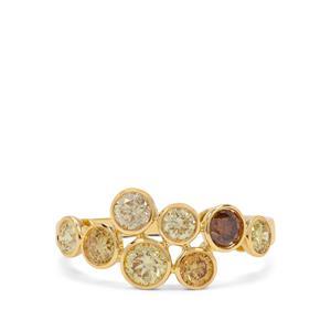 1.53ct Multi-Colour Diamond 18K Gold Tomas Rae Ring