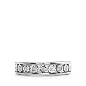 1/10ct Diamond Sterling Silver Halo Diamonds Ring