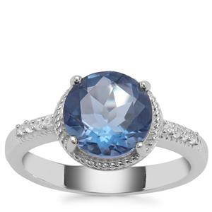 Colour Change Fluorite Ring with White Zircon in Sterling Silver 3.23cts