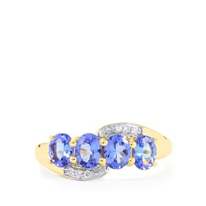 AA Tanzanite & Ceylon White Sapphire 10K Gold Ring ATGW 1.40cts