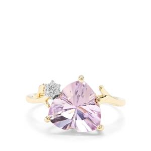 Lehrer Infinity Cut Rose De France Amethyst & Diamond 9K Gold Ring ATGW 3.17cts